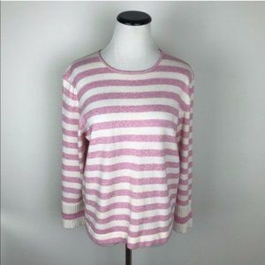 Vintage Saks Cashmere Striped Sweater Pink